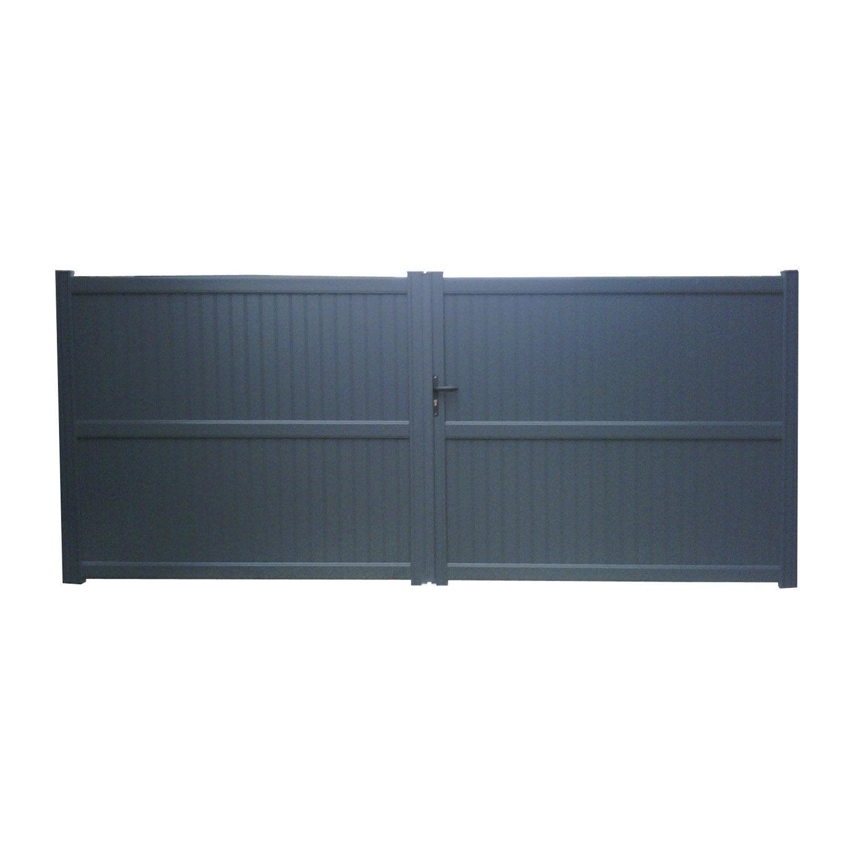 Bien connu Portail battant aluminium Noyal gris NATERIAL, l.350 cm x H.180 cm  GO58