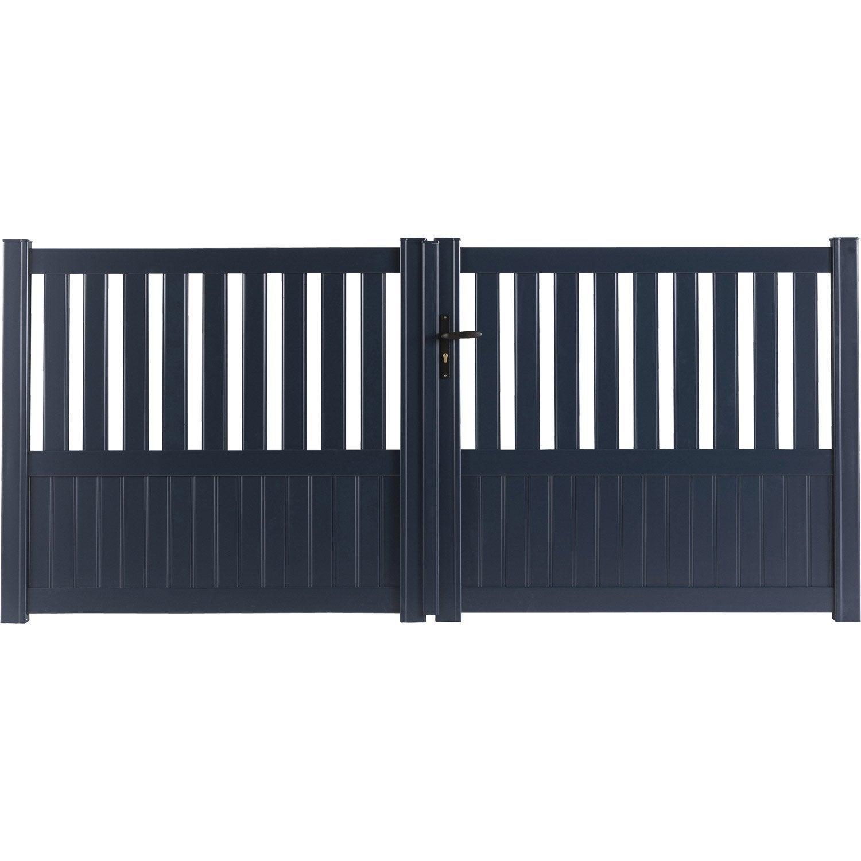 Portail battant aluminium Penmarch gris NATERIAL l 300 cm x H 135