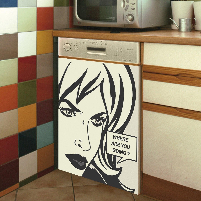 sticker lave vaisselle bande dessin e 59 cm x 70 cm. Black Bedroom Furniture Sets. Home Design Ideas