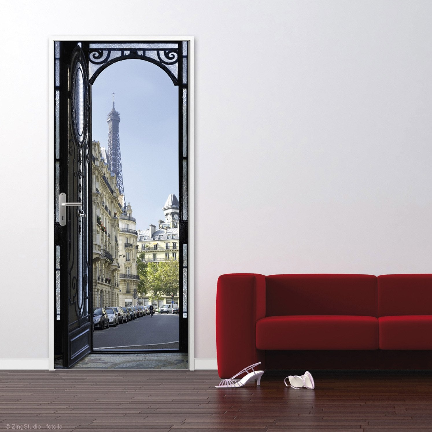 Sticker ondoor rue parisienne 83 cm x 204 cm leroy merlin - Sticker mural leroy merlin ...