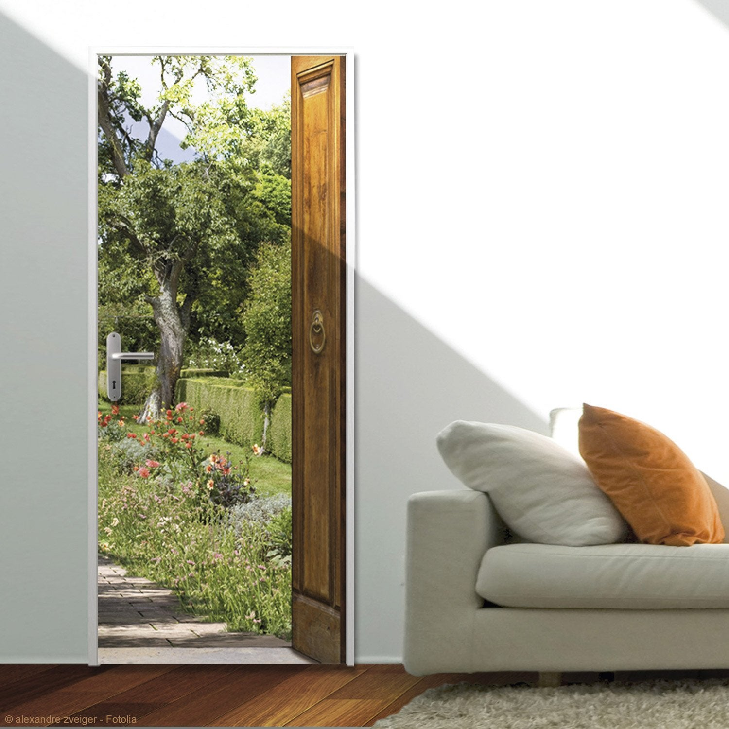 sticker ondoor mon jardin 83 cm x 204 cm leroy merlin. Black Bedroom Furniture Sets. Home Design Ideas