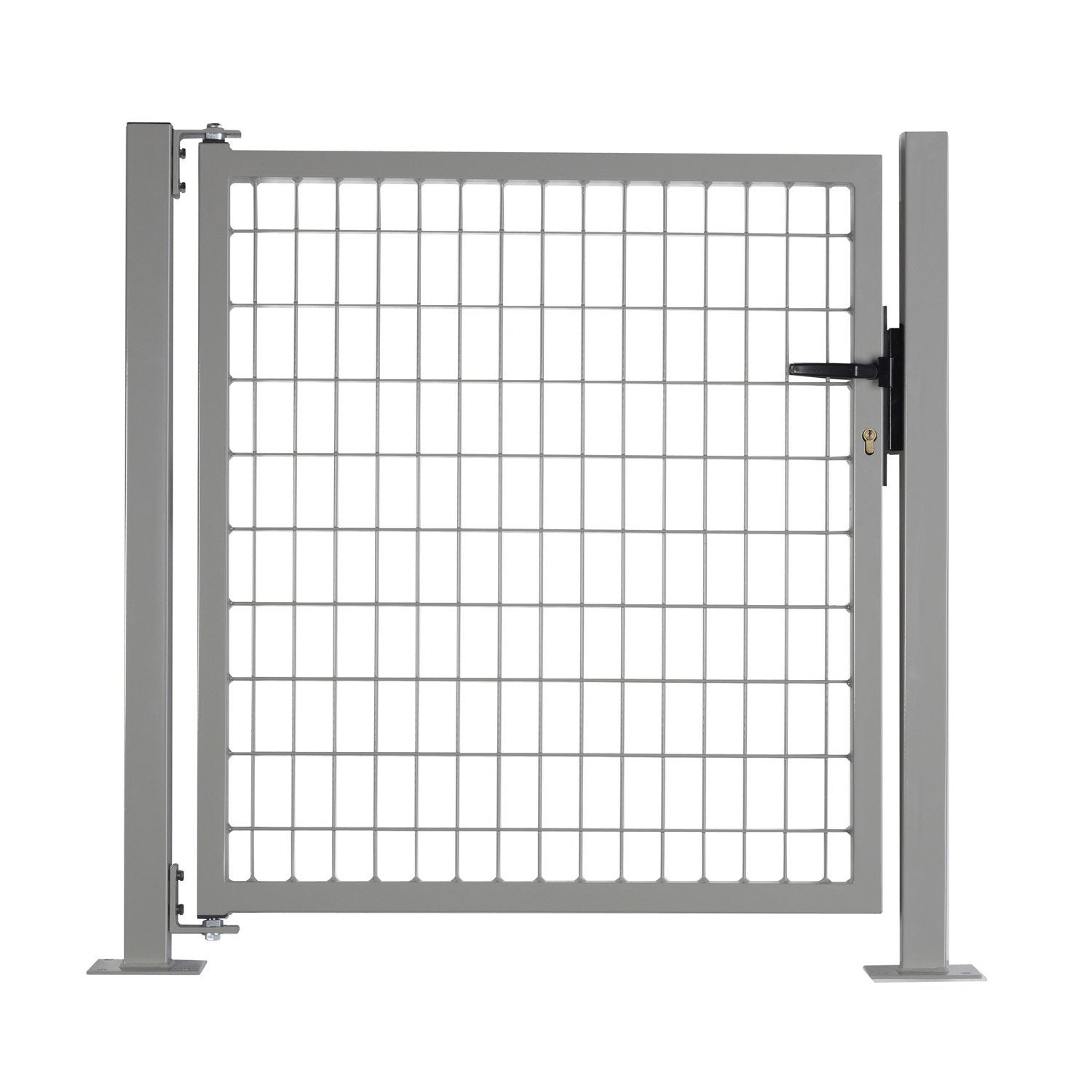 Portillon gris clair h 1 x l 1 m maille x mm for Portillon jardin grillage