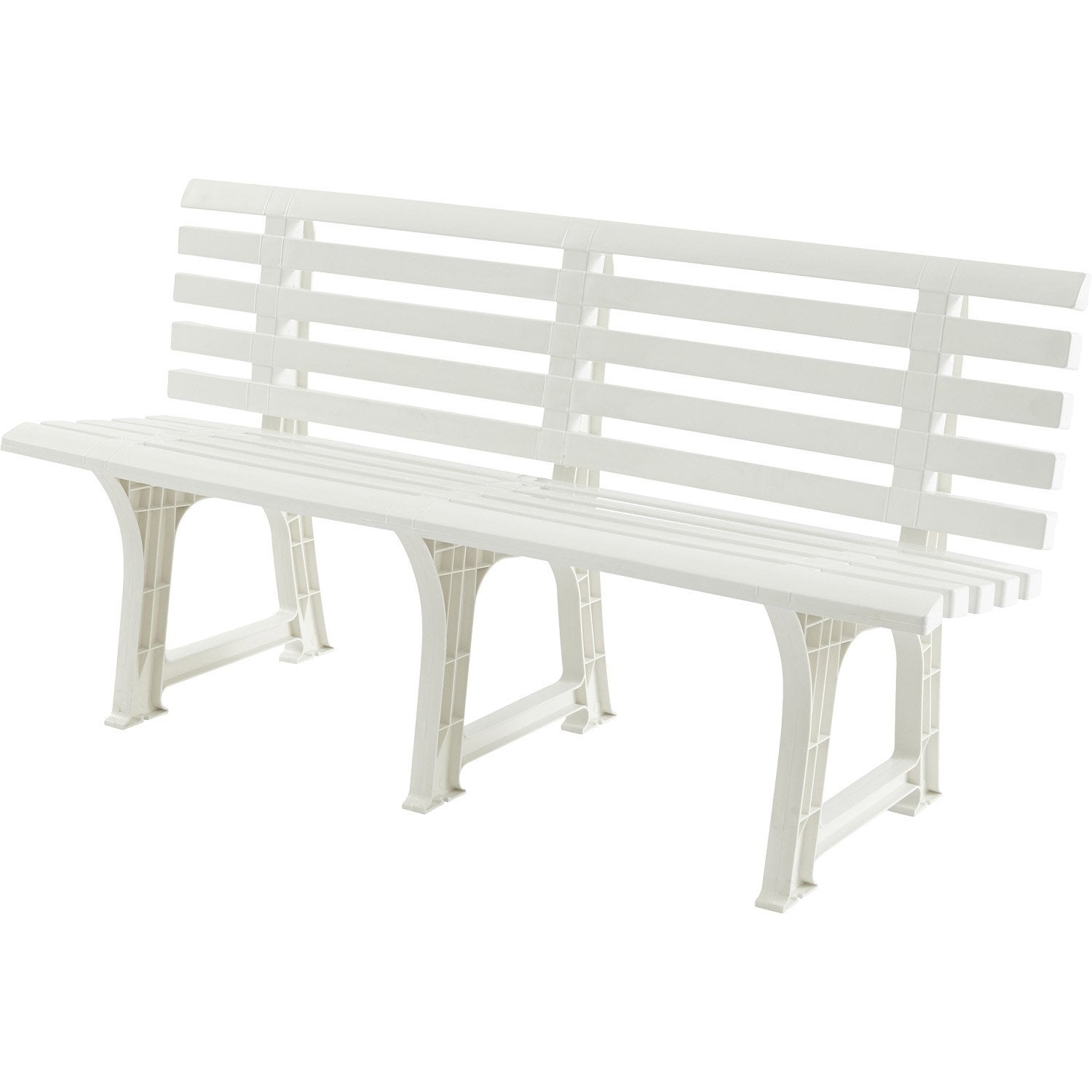 banc 3 places de jardin en r sine plastique isotta blanc. Black Bedroom Furniture Sets. Home Design Ideas