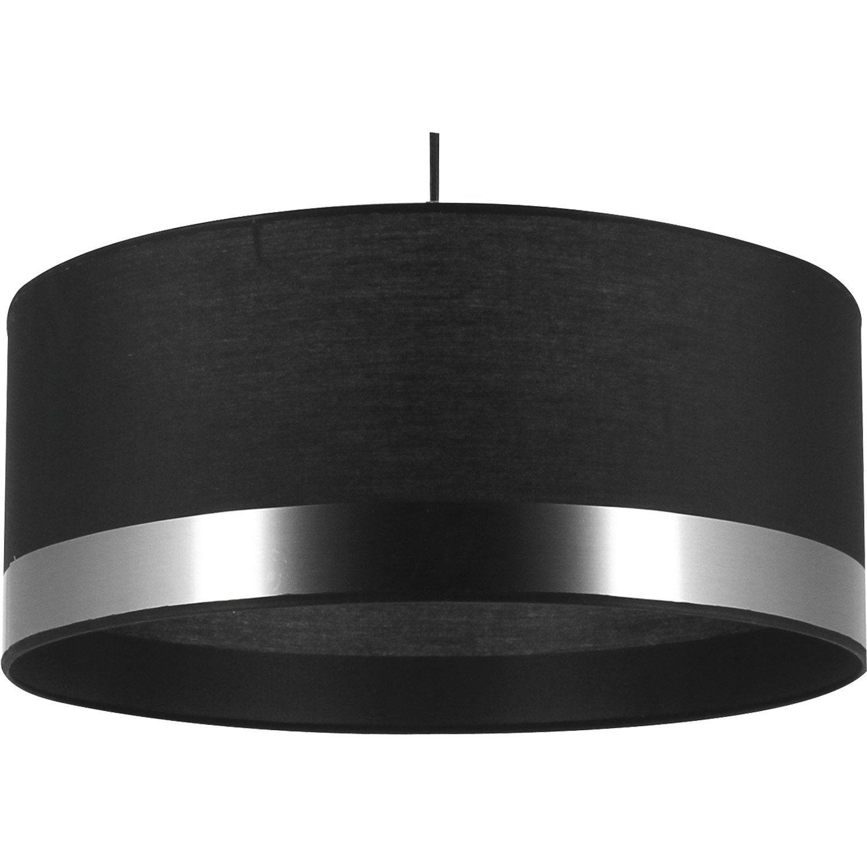 Suspension e27 design silver coton noir 1 x 60 w for Suspension noir et or
