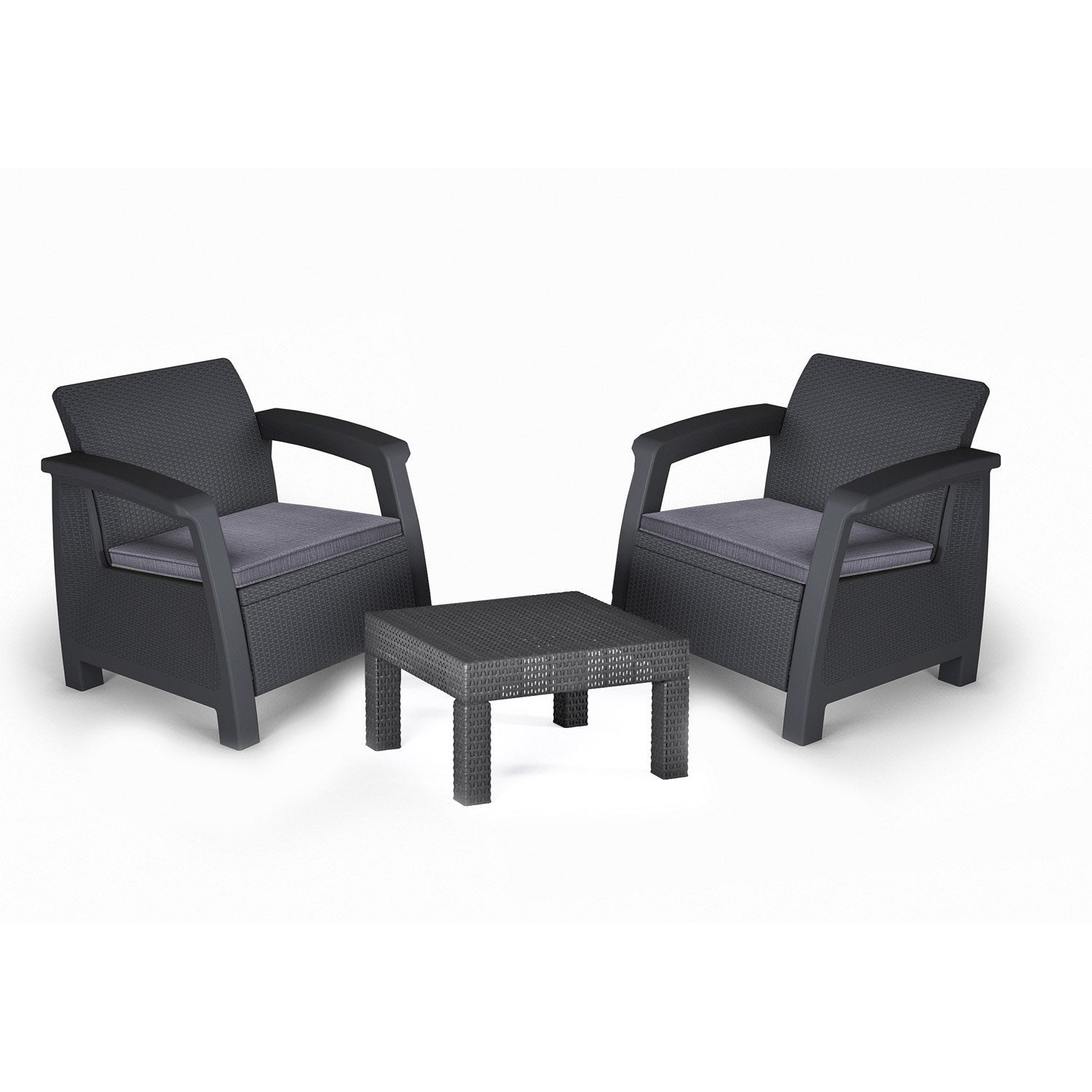 Salon de jardin bahamas r sine inject e anthracite table 2 fauteuils leroy merlin - Table salon de jardin resine tressee ...