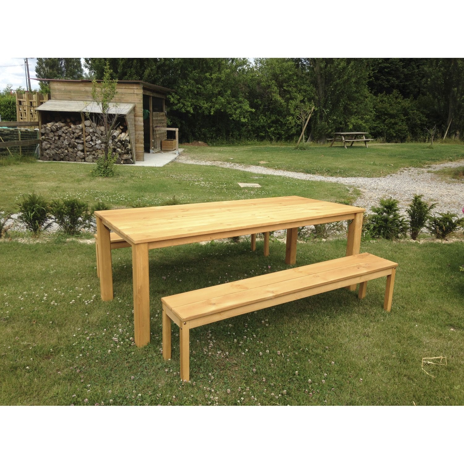 Salon de jardin set ferme bois ch ne vieilli 1 table 2 bancs leroy merlin for Plan banc de jardin