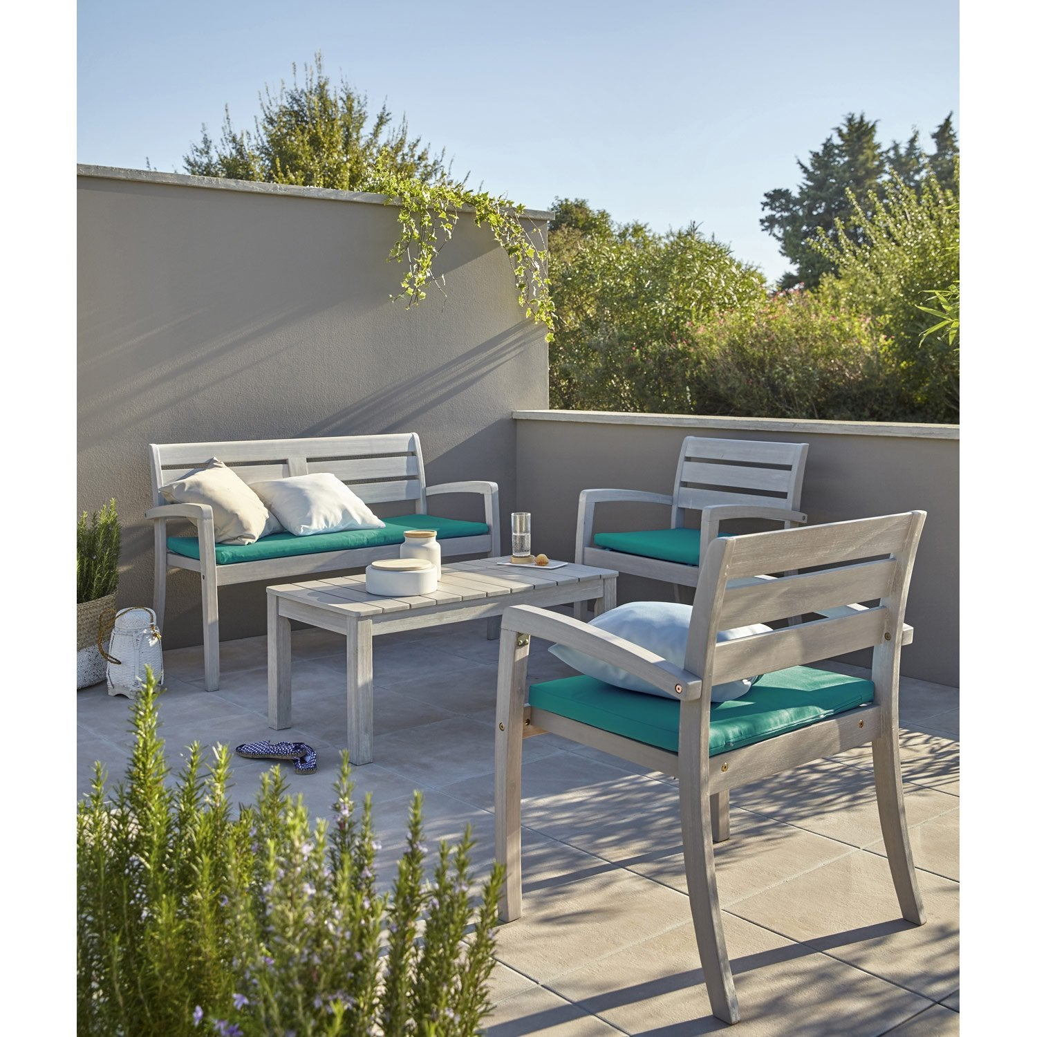 Salon de jardin portofino bois naturel 1 table 2 fauteuils 1 banc leroy - Leroy merlin table jardin ...