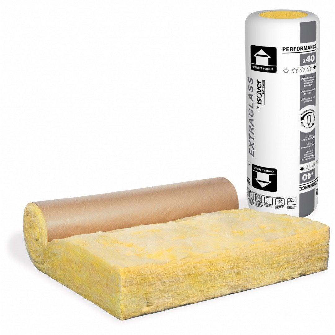 rouleau de laine de verre avec surfa age kraft isolant. Black Bedroom Furniture Sets. Home Design Ideas