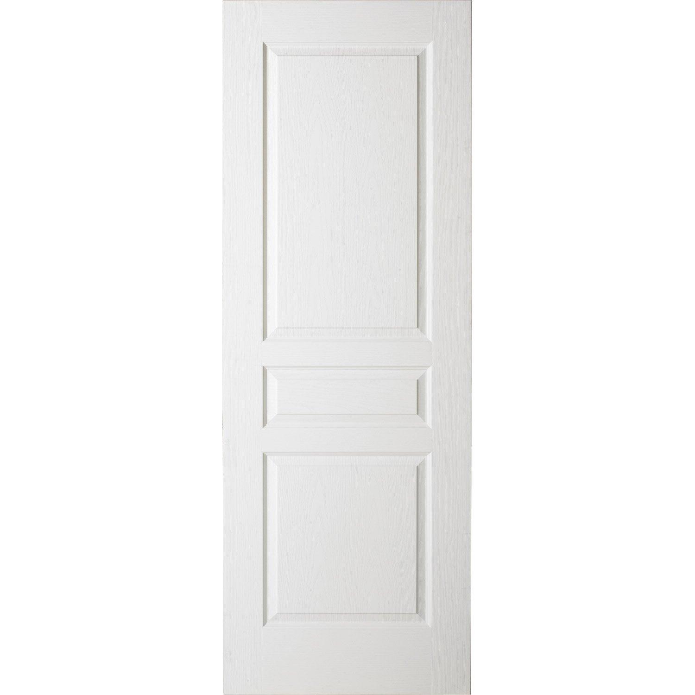 Porte coulissante blanc postform e traverse droite 204 x 63 cm leroy merlin - Porte coulissante 63 ...