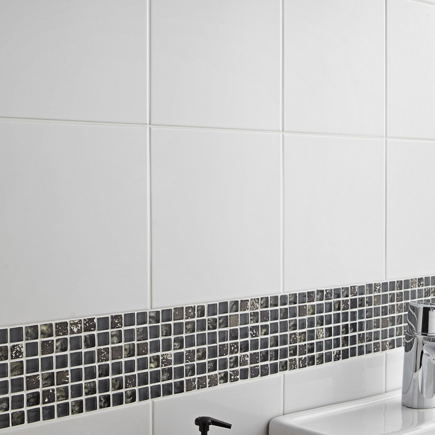 Fa ence mur blanc basic x cm leroy merlin for Faience mur