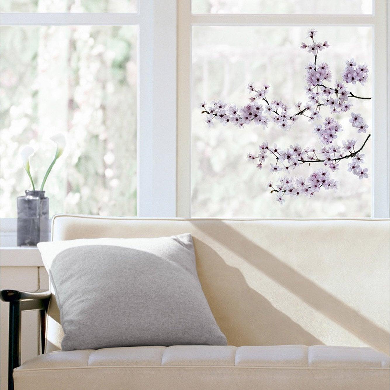 Sticker cerisier en fleurs 24 cm x 69 cm leroy merlin - Leroy merlin rideau japonais ...