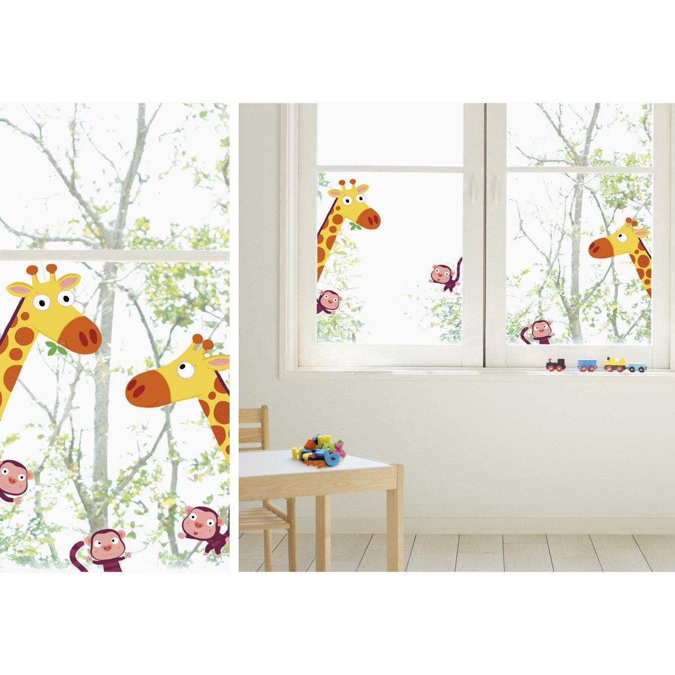 sticker girafes et singes 24 cm x 69 cm leroy merlin. Black Bedroom Furniture Sets. Home Design Ideas