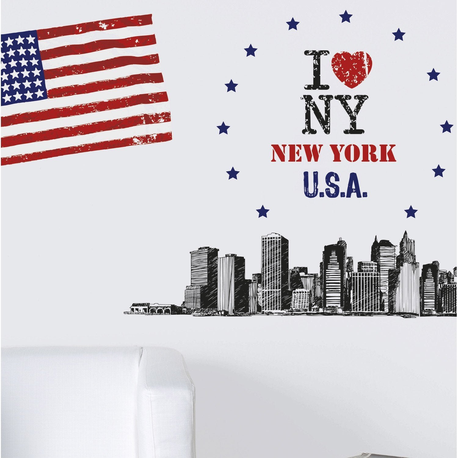 sticker big apple 47 cm x 67 cm leroy merlin. Black Bedroom Furniture Sets. Home Design Ideas