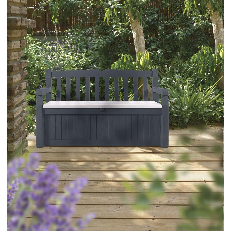Coffre de jardin r sine eden garden bench gris noir l for Banc coffre de jardin