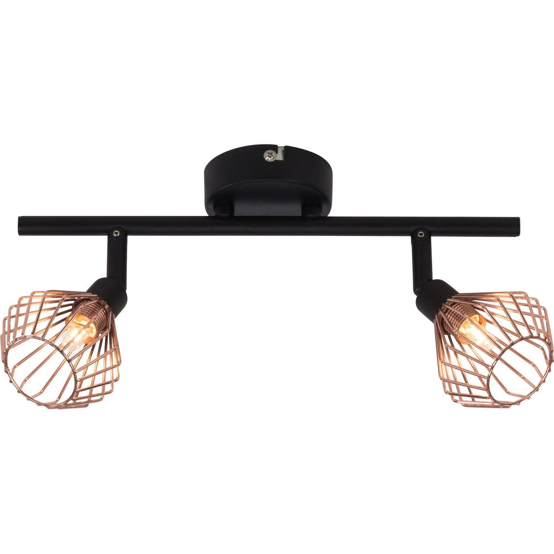 rampe 2 spots industriel dalma 2 xg9 noir brilliant leroy merlin. Black Bedroom Furniture Sets. Home Design Ideas